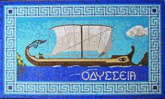 Mosaic of a Phoenician Trading Ship Tile Art, Mosaic Tiles, Mosaics, Ship Craft, Art Through The Ages, Sea Captain, Phoenician, History Projects, Art For Kids