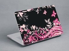 Pink and black flowers and hearts Black Flowers, Laptop Skin, Hearts, Pink, Pink Hair, Roses