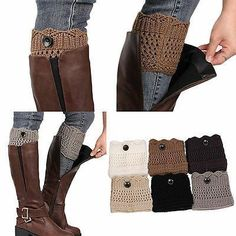 Winter Leg Warmers Button Crochet Knit Boots Socks- Available in Black, White, Dark Gray, Gray, Beige & Khaki-The perfect way to top off your favorite boots this Fall! Love the Winter Leg Warmers Button Crochet Knit Boots Socks! Crochet Boot Socks, Crochet Leg Warmers, Knit Boots, Knitting Socks, Guêtres Au Crochet, Crochet Buttons, Boot Toppers, Mode Inspiration, Garter Stitch