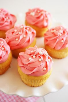 Pink Champagne Cupcakes by The Comfort of Cooking ~ Pink, champagne and pearls...romantic cupcakes for your loves on Valentine's Day!