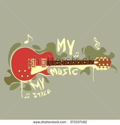 vector banner with electric guitar, brush, trumpet. my music. my style and my creativity, with colorful background. - stock vector