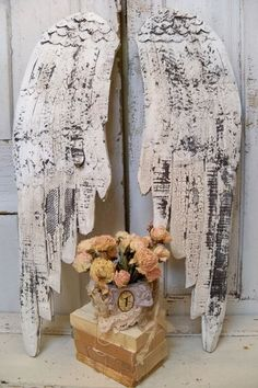 Large white wooden wings shabby chic wood by AnitaSperoDesign, $195.00