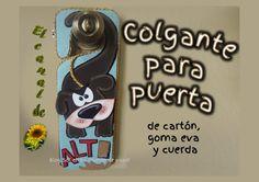 COLGANTE PARA PUERTA DE CARTÓN Y GOMA EVA - Door hanger cardboard and ru...