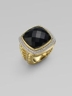David Yurman Black Onyx, Diamond & 18K Yellow Gold Ring
