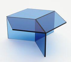 Isom glass tables by Sebastian Scherer