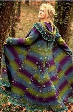 Picture Handcrafted Felted Coat made from recycled materials. Picture Handcrafted Felted Coat made from recycled materials. Gypsy Style, Boho Gypsy, My Style, Bohemian, Boho Style, Crochet Coat, Crochet Clothes, Beautiful Outfits, Cool Outfits