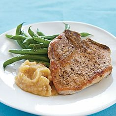 Pan-Fried Pork Chops and Homemade Applesauce | MyRecipes.com