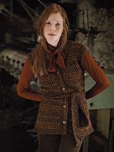 Knit this womens belted sleeveless textured cardigan from our Tweed Collection. A design by Marie Wallin using Rowan Tweed Aran a beautifully soft, traditionally spun yarn comprising 100% wool. This knitting pattern is suitable for intermediate knitters.