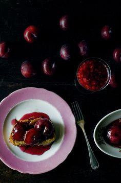 Plums & pain perdu - from Manger  aka: what I'll do with next year's Pluots in our CSA fruit share!