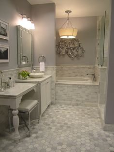 Kirsty Froelich: The Tile Shop - Kirsty Froelich - Hampton Carrara marble bathroom, accents from Z gallerie