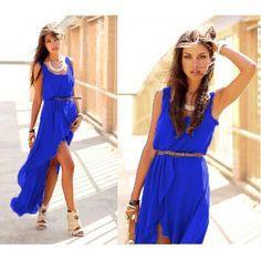 Голубое платье из шифона купить