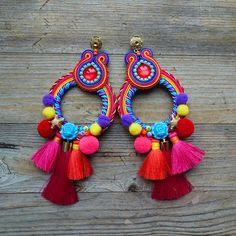 Soutache Earrings, Boho Earrings, Tassel Necklace, Decorative Tape, Stick Pins, Diy Jewelry Making, Fun Crafts, Tassels, Handmade Jewelry