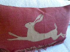 Hand gedruckt rot rotbraun springenden Hasen von helkatdesign