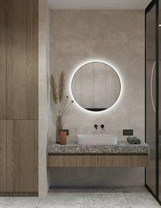 Apartment in Saint-Petersburg - Dezign Ark (Beta) Modern Bathroom Design, Bathroom Interior Design, Home Interior, Washbasin Design, Bathroom Mirror Lights, Guest Toilet, Bathroom Design Inspiration, Tadelakt, Toilet Design