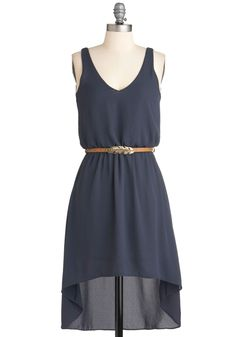 Flight Up the Night Dress - Short, Blue, Solid, Belted, High-Low Hem, Sleeveless, Casual, Summer