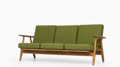 Sofa model GE-240 / Cigar designed by Hans Wegner Produced by Getama in Denmark Oak and newly reupholstered fabric Excellent vintage condition, with minor signs of usage 1950's Mid century, Scandinavia Dimensions (W x D x H): 175 x 75 x 74 cm, SH: 38 cm Price: 5500 €