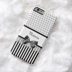 A girly Victorian style black and white pattern slim #iPhone6case with chic polka dots on the top and stylish stripes on the bottom. Personalize this cute design by adding your name to the divider of eyelet lace embellished with a cute black ribbon tied into a bow. Flat printed image, not actual lace or bow.
