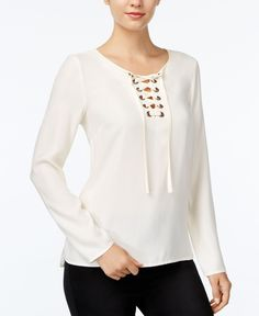 kensie Long-Sleeve Lace-Up Top Fancy Top Design, Fancy Tops, Classy Dress, Matching Outfits, T 4, Blouse Designs, Blouses For Women, Short Dresses, Fashion Dresses