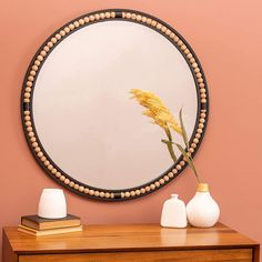 "Preslie Matte Black Wooden Beaded 31 1/2"" Round Wall Mirror - #79A67 