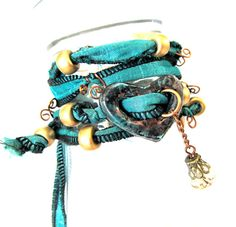 Sari Silk Ribbon Heart Charm Wrap Bracelet Copper by mmartiniuk, $42.00