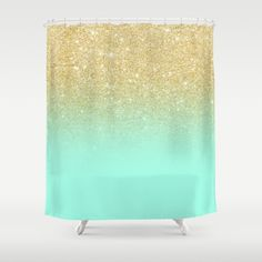 Buy Shower Curtains featuring Modern gold ombre mint green block by Girly Trend. Made from 100% easy care polyester our designer shower curtains are printed in the USA and feature a 12 button-hole top for simple hanging.