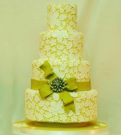 Pretty Chartreuse  Lace Wedding Cake Picture Id consider getting married again just for this cake lol