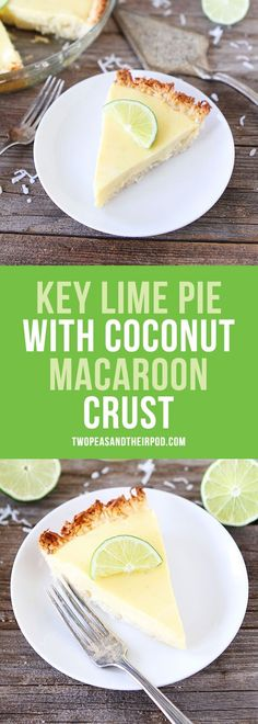 Key Lime Pie with Coconut Macaroon Crust-the coconut macaroon crust is gluten-free and the perfect base for the tart key lime pie! This easy pie is a family favorite dessert!