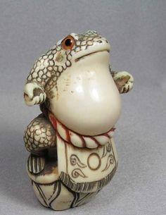 Hand Carved Ivory Frog Netsuke