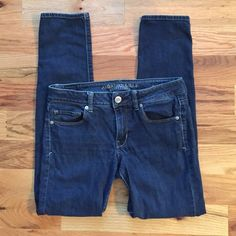 American Eagle Skinny Jeans These are in good condition and have a dark blue color! American Eagle Outfitters Jeans Skinny