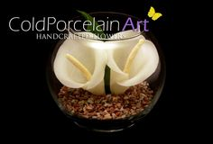 Cold Porcelain Art. Handcrafted Flowers. www.coldporcelainart.com #calla lilies, #coldporcelain, #flowers, #home decor