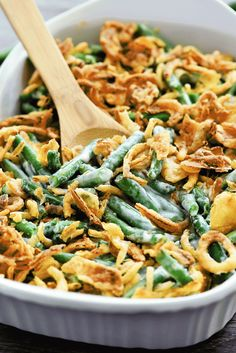 This version of green bean casserole is the best! Homemade sauce, fresh green beans and lots of fried onions!
