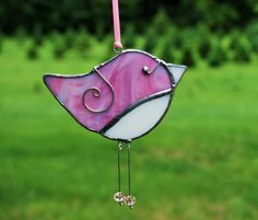 Fun Pink Blue White Swirl Bird  3D Stained Glass by R2P2Designs