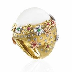 Gold Ring with white agate, diamonds and gemstones by Rina Limor