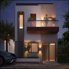 Landscape design front of house modern exterior colors Super ideas Modern Small House Design, Bungalow House Design, House Front Design, Minimalist House Design, Tiny House Design, Modern Minimalist, Door Design, Simple House Design, Small Modern Houses