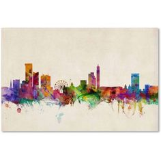 Trademark Fine Art Birmingham England Skyline II Canvas Art by Michael Tompsett, Size: 30 x 47, Multicolor