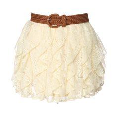 "15"" Crochet Skirt with Braided Belt ❤ liked on Polyvore featuring skirts, mini skirts, bottoms, saias, faldas, women, woven belt, macrame skirt, beige skirt and crochet skirts"