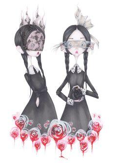 Valentino illustration mode halloween Addams par CamillPfister