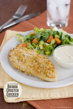 Quinoa Crusted Chicken with Skinny Honey Mustard | www.tasteandtellblog.com #recipe #chicken #healthy