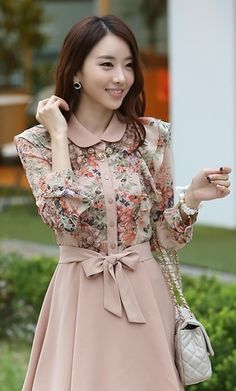 Cute Light Pink Floral Top Dress