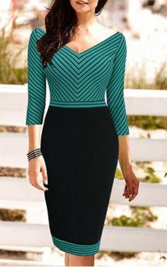 Charming V-Neck Striped Color Block 3/4 Sleeve Bodycon Pencil Dress For WomenBodycon Dresses   RoseGal.com