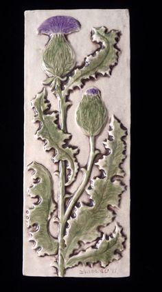 Decorative, relief carved and hand painted ceramic thistle tile Art Nouveau Tiles, Art Deco, Art Nouveau Design, Slab Ceramics, Hand Painted Ceramics, Ceramic Painting, Ceramic Art, Craftsman Tile, Mosaics