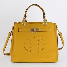 Hermes New Arrival Double-duty leather handbag Yellow 60668