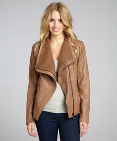 Oh how I want this beautiful coat!  Elie Tahari 'Andreas'- sand lambskin asymmetrical zip jacket