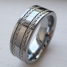 8mm TUNGSTEN CARBIDE MEN'S WEDDING BAND RING real silver braid SIZE 7-14