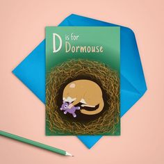 D is for... Dormouse! This sleepy little mouse makes a cute card for a toddler or child's birthday.  #dormouse #mouse #birthdaycard #childrensbirthday #greetingscards Blue Envelopes, Kids Birthday Cards, Felt Decorations, Etsy Crafts, Animal Cards, Linocut Prints, Cool Cards, Craft Gifts, Gift Tags