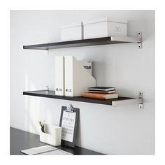 EKBY JÄRPEN / EKBY BJÄRNUM Wall shelf - black-brown/aluminium, 119x28 cm - IKEA