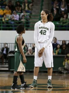 Southeastern Louisiana guard Elizabeth Styles (11) and Baylor center Brittney Griner (42) meet at half court for the tip-off at the start of an NCAA college basketball game Saturday, Dec. 29, 2012, in Waco, Texas.