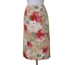 Talbots Off White Beige Red Green Floral Print Silk Blend Straight Skirt 16 NWT #Talbots #Straight