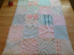 Aqua+and+Pink+Vintage+Chenille+Baby+QuiltMinky+Dot