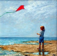 The Red Kite - Cornwall Paintings - Geoffrey Smith Flying Photography, Art Photography, Beach Drawing, Go Fly A Kite, Kite Flying, Sea Pictures, Seaside Art, Red Kite, Mini Canvas Art